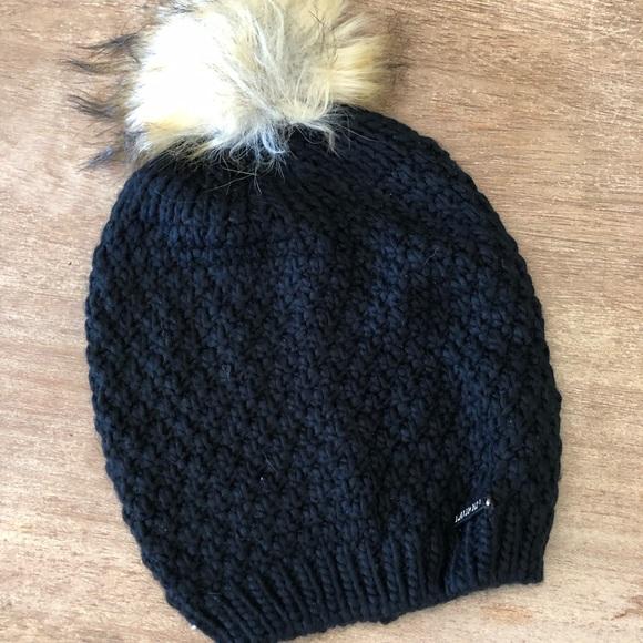 fe5a6388e Ralph Lauren Black Knit Beenie with Faux fur